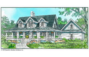 plans for a custom house with wraparound front porch, garage, grey roof with blue siding