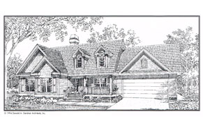 a plan for a custom home with large garage and front porch