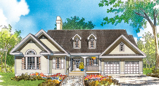 A rendering painting of The Caraway Hunter Creek Homes a cream house with two car garage and brown roof