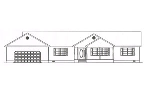 a plan for a single story one car garage home