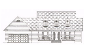 a custom plan for a one story single car garage home