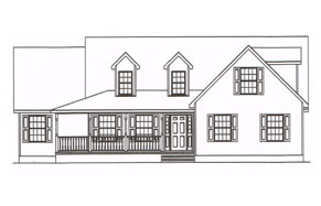 a custom plan for a two story family home with front porch