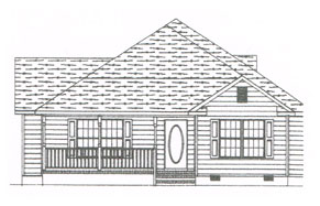 a custom plan for a single story home with front porch