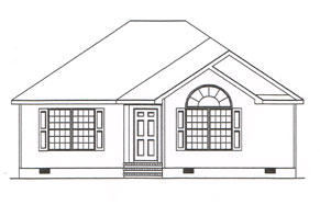 a custom plan for a single story home with a large arched window