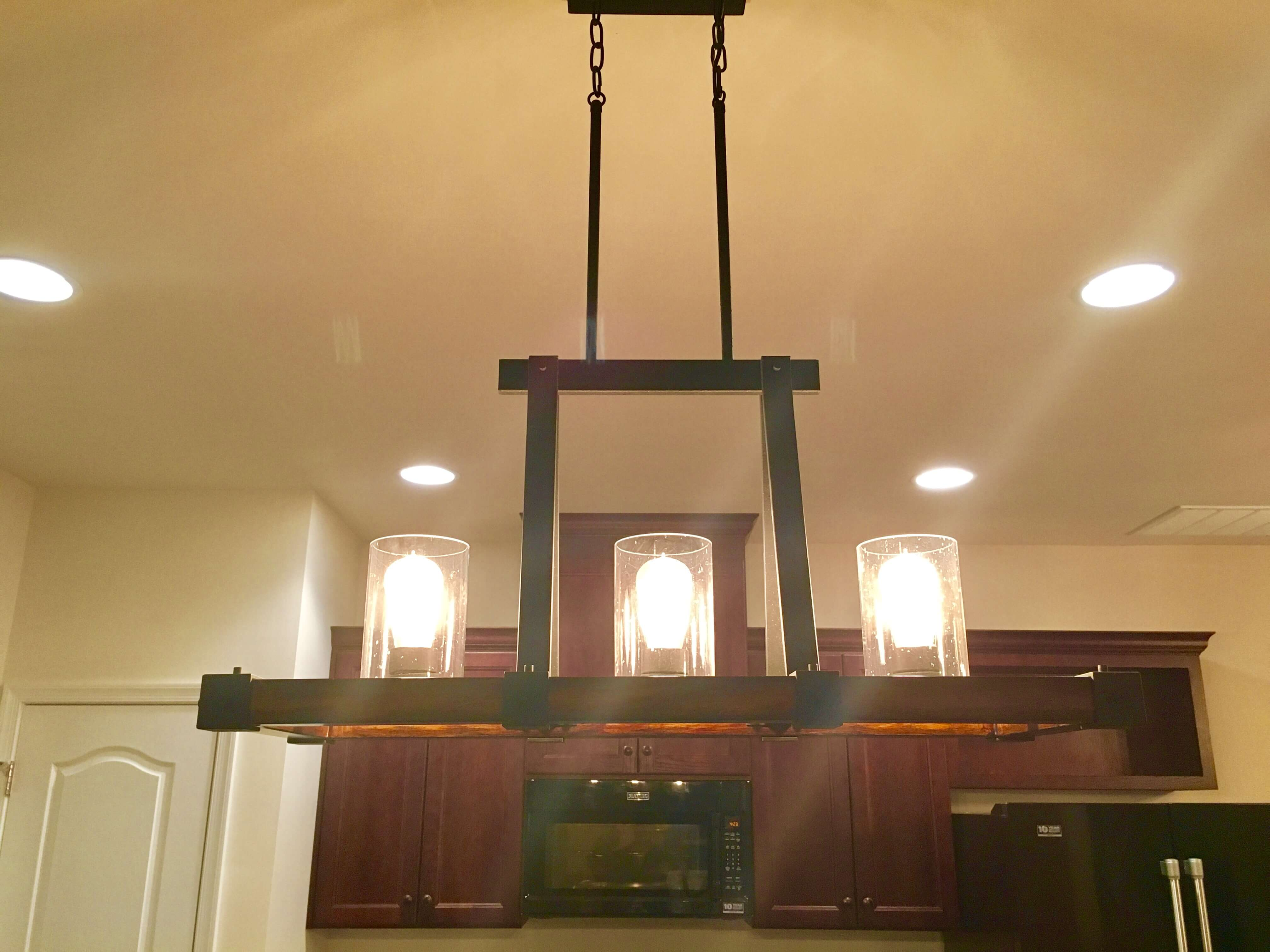 light fixture hanging in kitchen